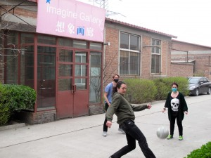 Tomash, Dagur and Petra take a football break between their studio and the Imagine Gallery