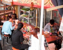 The town features a streetside restaurant