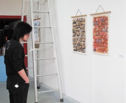 An Art Patron studies my China Wall I and Wall II