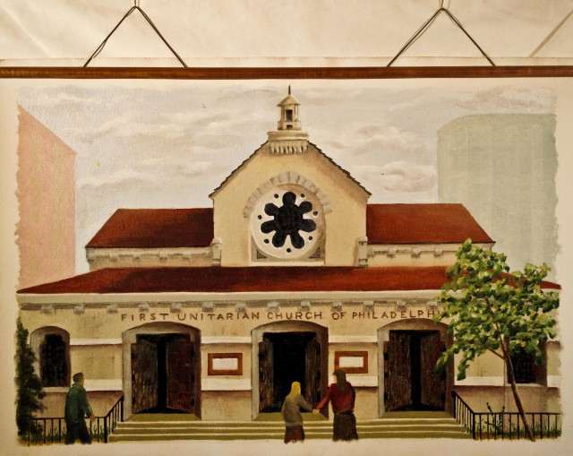 "The historic First Unitarian Church of Philadelphia 25x36"" oil on canvas"